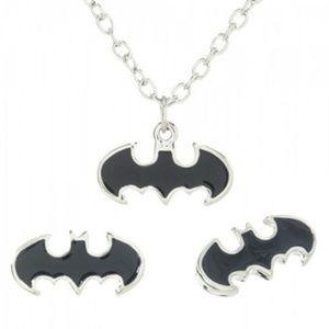 Batman Necklace + Earrings Set DC Comics JLA NEW